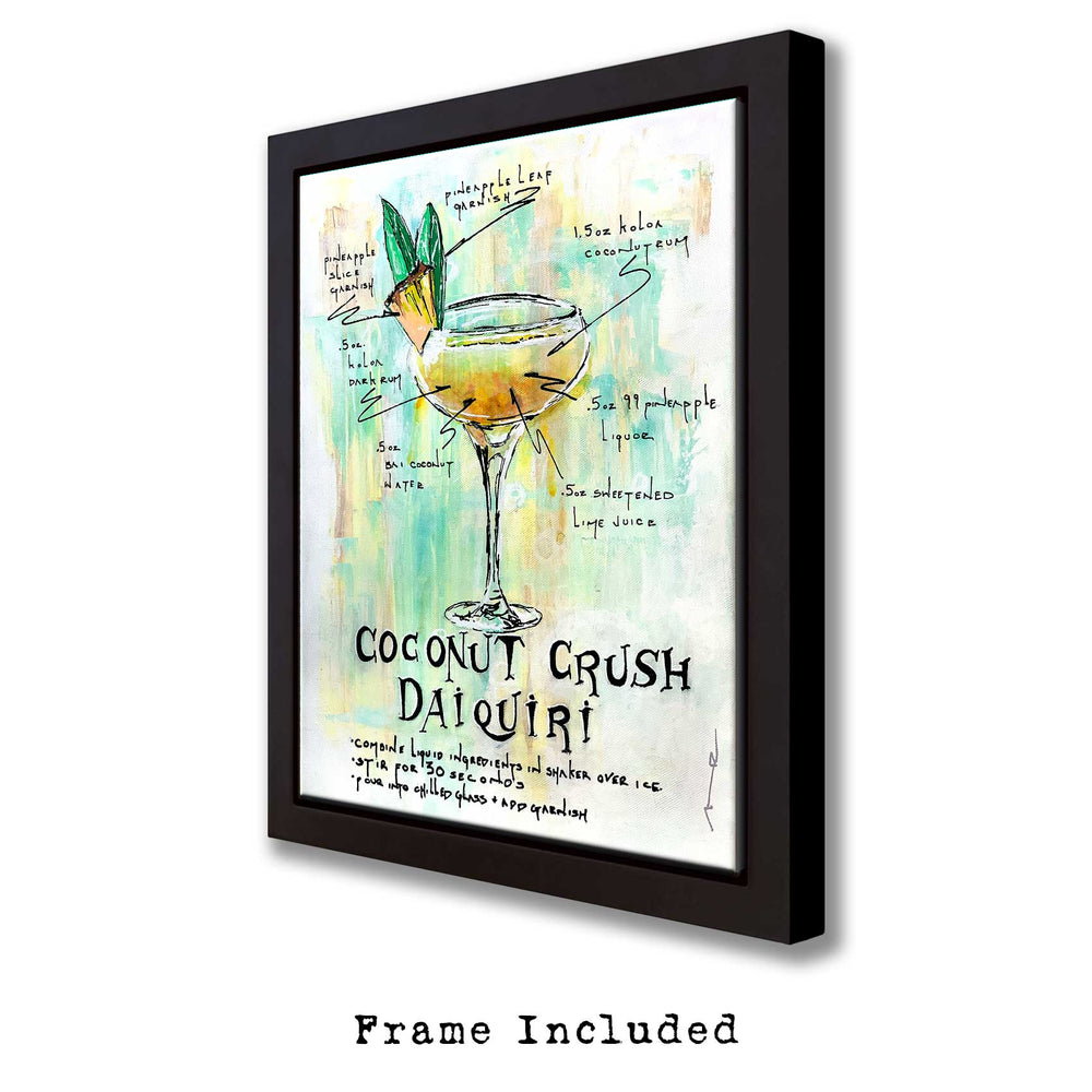 Hand-painted home bar wall art of tropical daiquiri recipe with illustrated cocktail and garnish