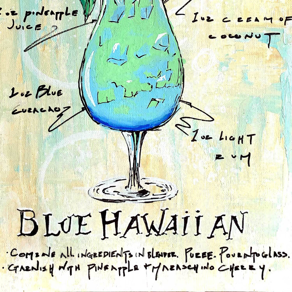 Blue Hawaiian recipe drawn on textured gold background around colorfully painted cocktail