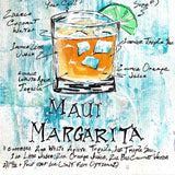 Maui Margarita recipe sketched on textured blue background around colorful painted margarita