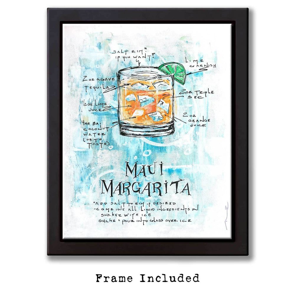 Framed tropical art of Margarita recipe on painted canvas with orange drink on turquoise