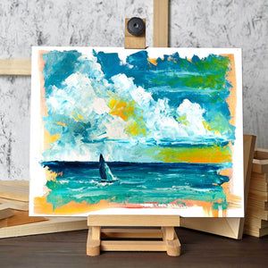 Blue Sailboat Art by Nelson Makes Art