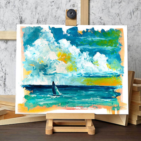 Small Ocean Sailboat Painting by Nelson Makes Art