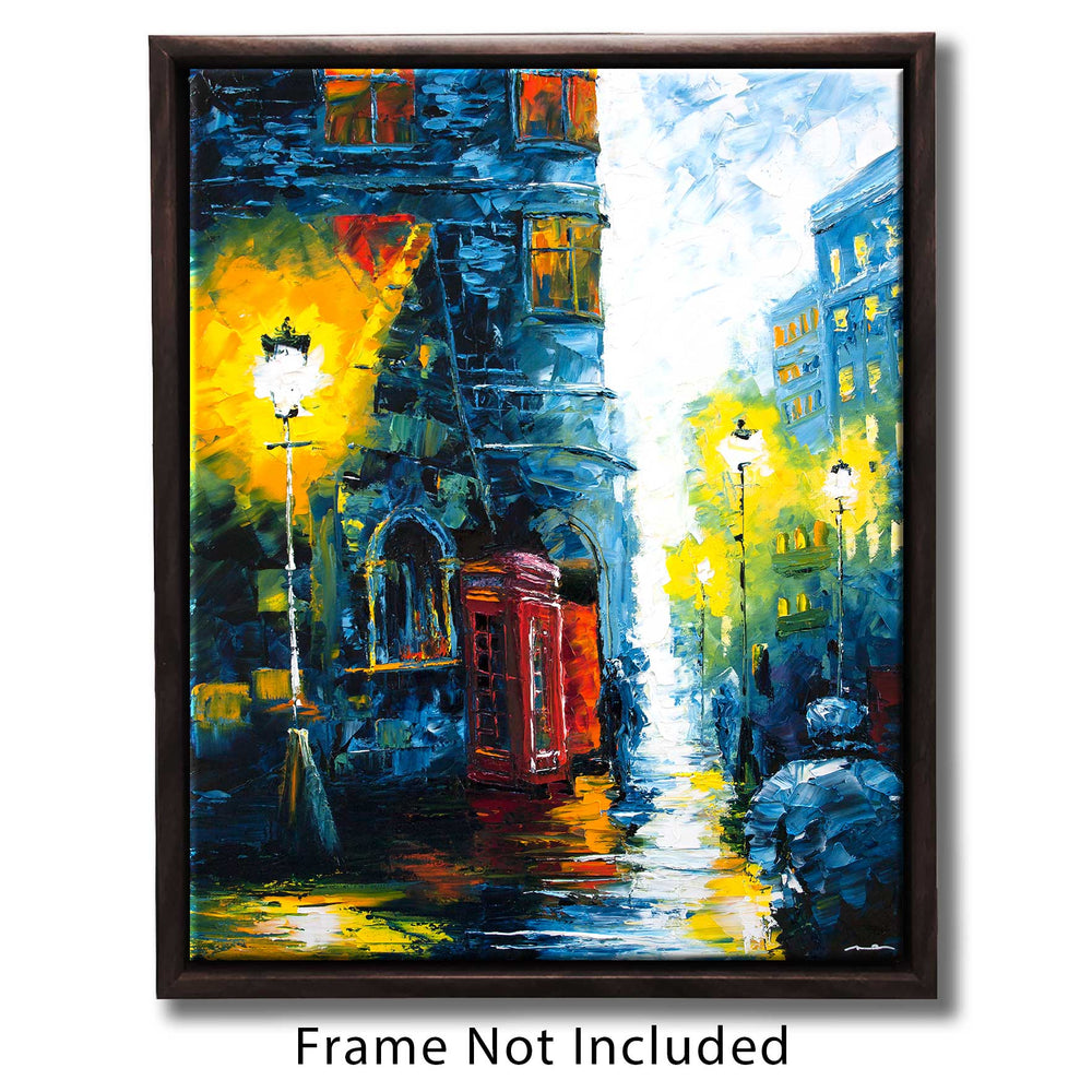 Travel wall art of red phone box against rainy blue street in the UK
