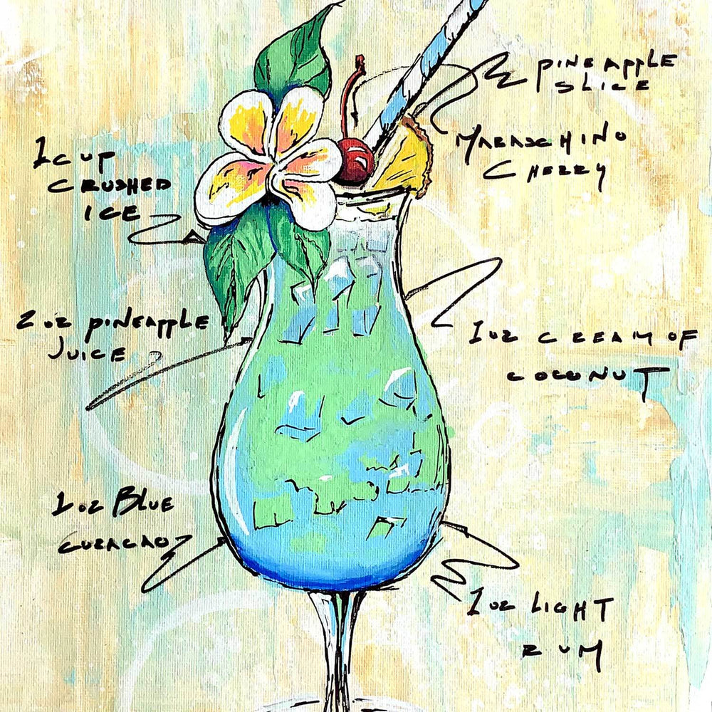 Painted cocktail, including tropical flowers and fruit, with recipe sketched around the glass