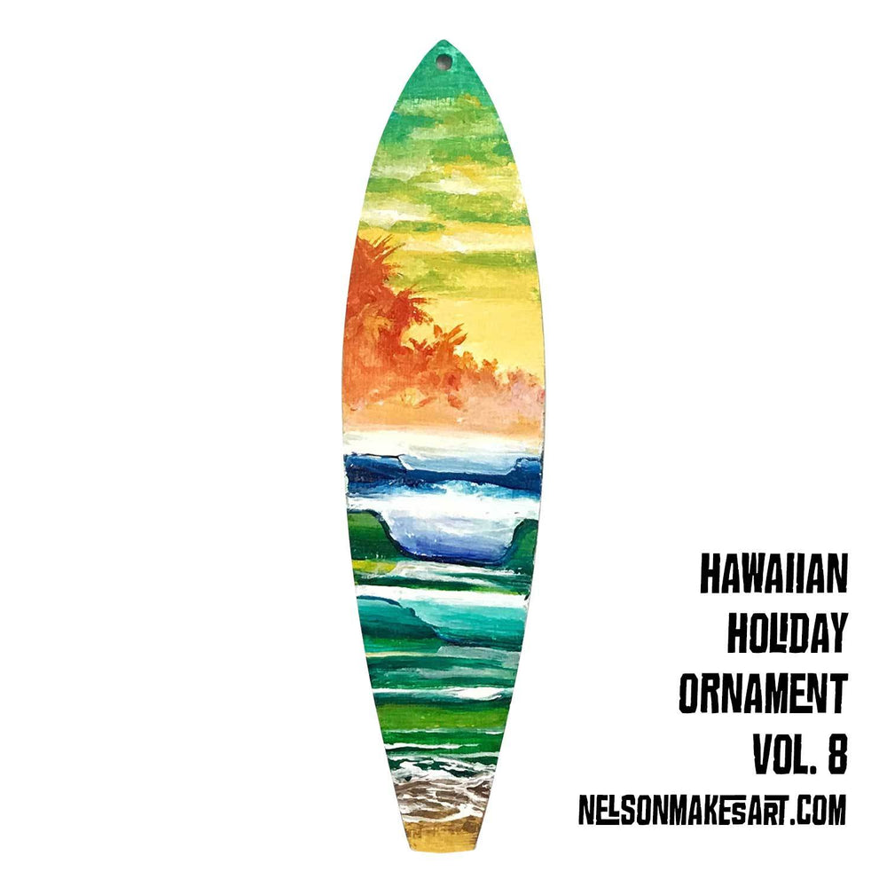 Surfboard xmas ornament with hand-painted palm trees on a tropical beach with rolling blue-green waves by Nelson Makes Art.