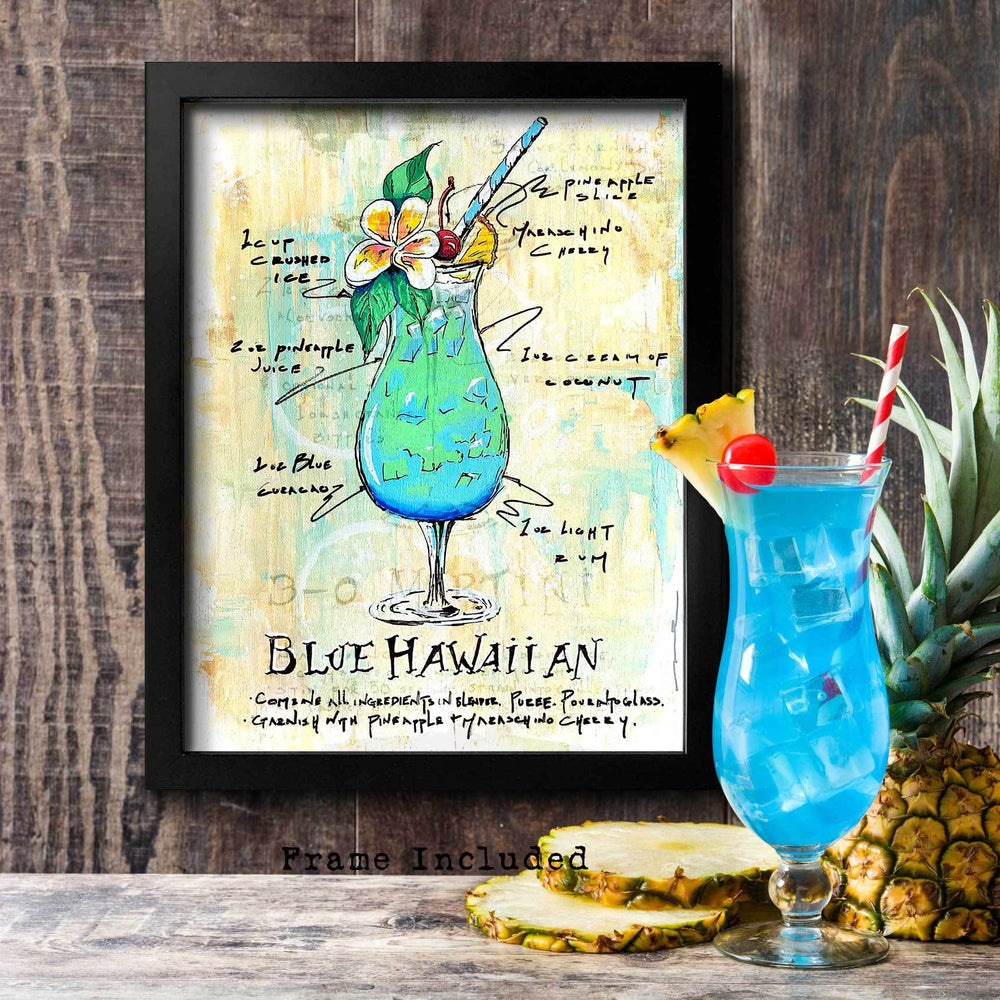 Tropical drink artwork with cocktail recipe for Blue Hawaiian with painted blue and aqua drink