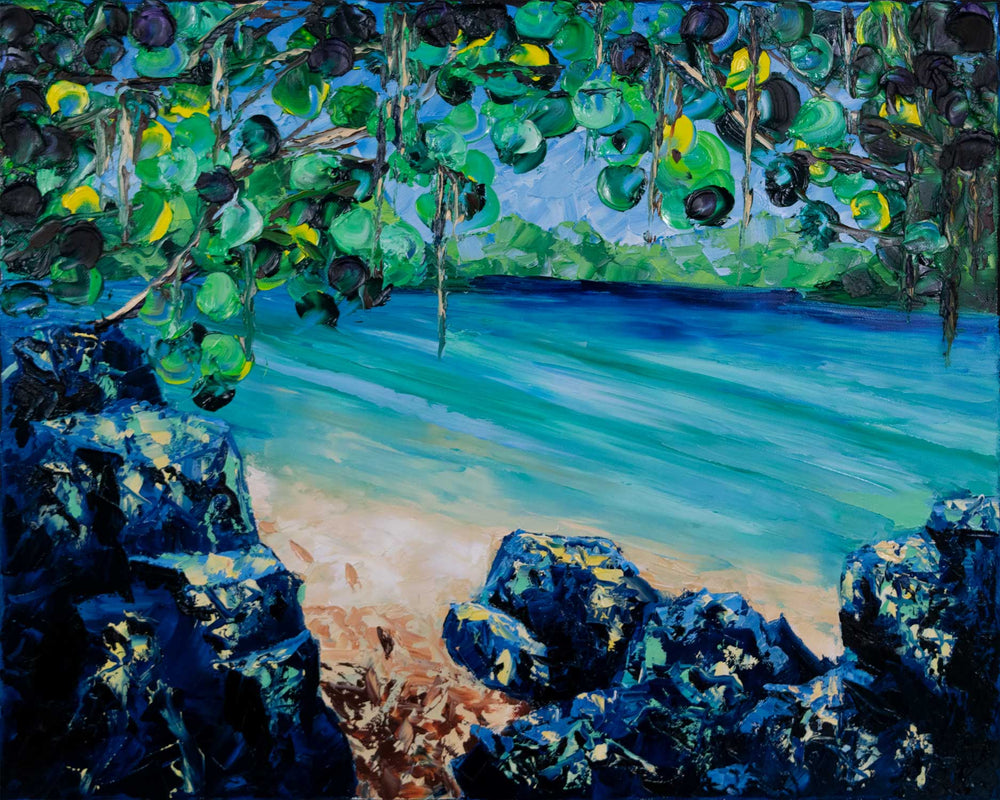 Original oil painting of white sand beach on St Thomas island with footprints beside blue ocean