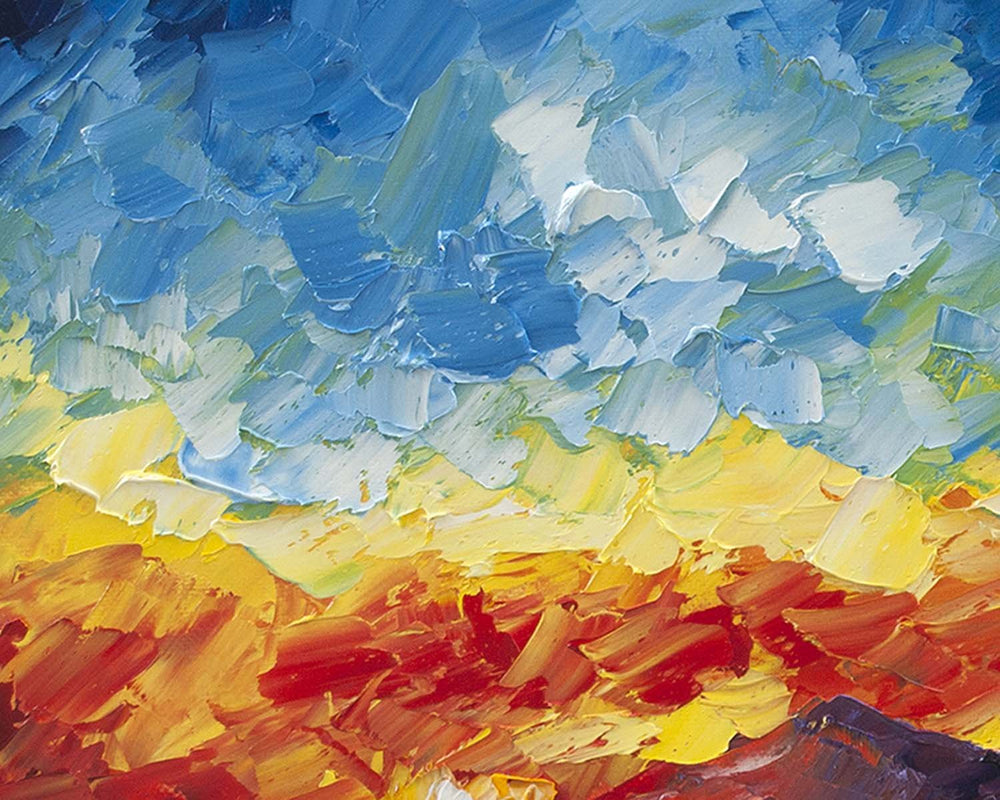 Sunset Wall Art with Blue and Red Sky over Purple Mountains with Oil on Canvas