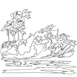 Tropical Wave and Palm Trees - FREE Coloring Page - Nelson Makes Art