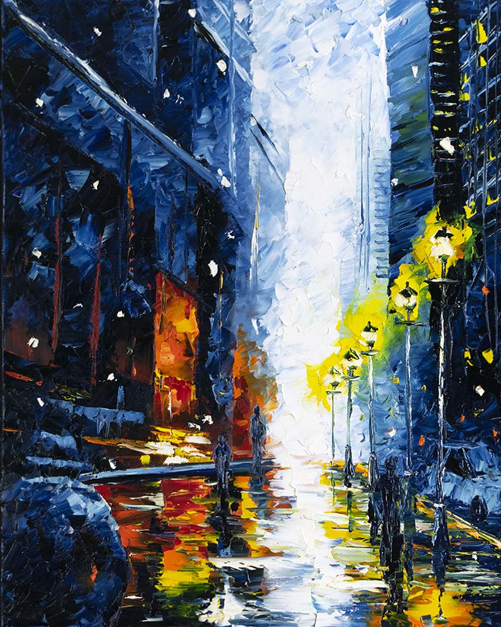 Large oil on canvas painting of Chicago street in winter with snow and street lights