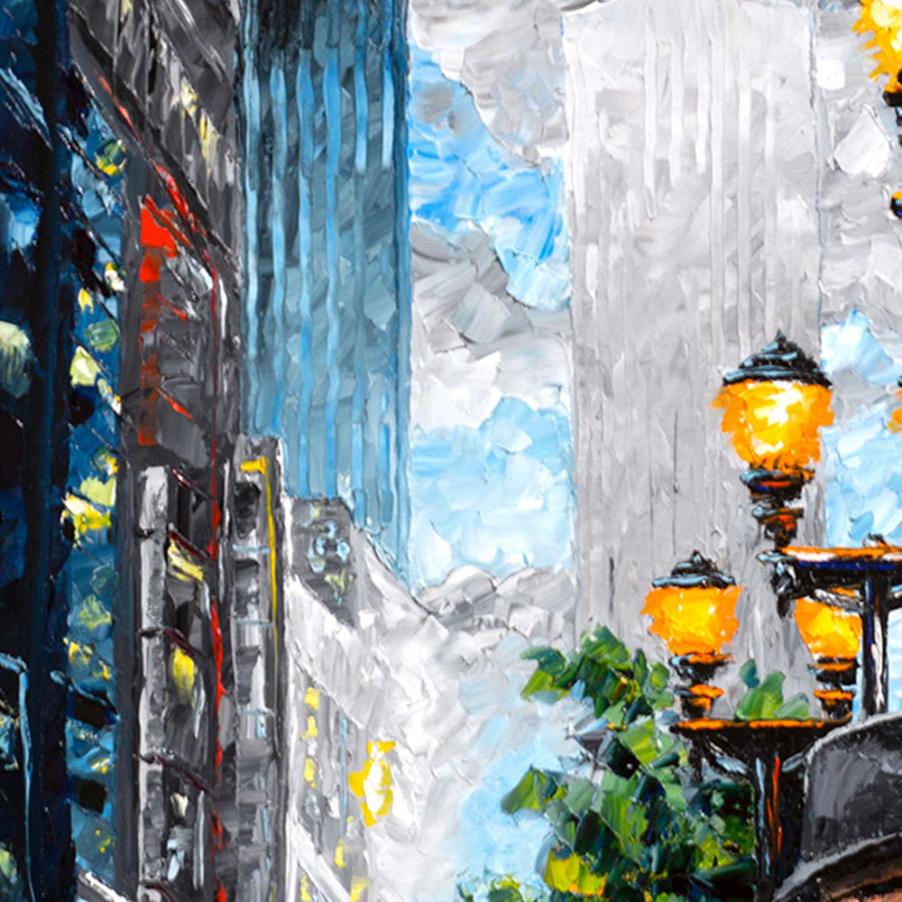 Winter wall art of a chilly urban cityscape with a man walking down a street among skyscrapers