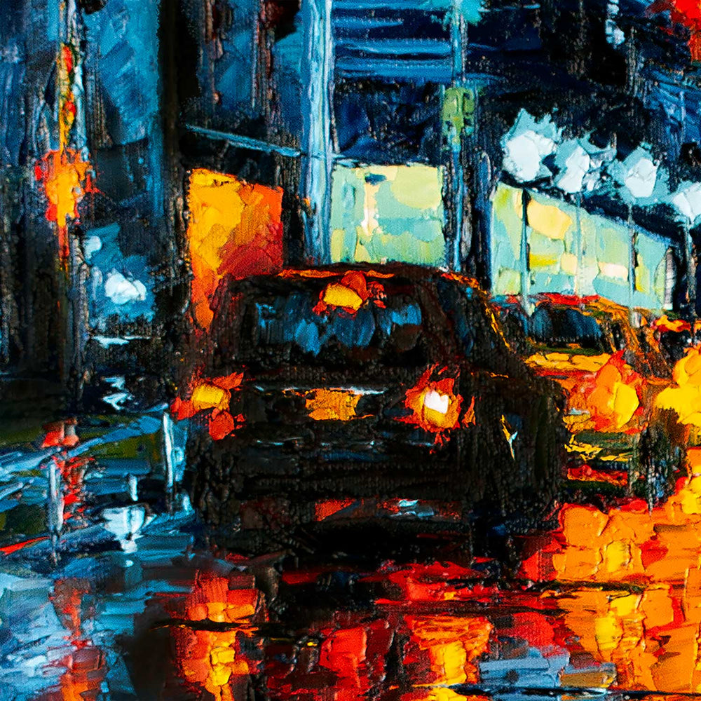 NYC wall art of rainy city night with glowing diner windows and traffic reflected in wet street