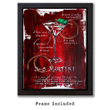 Urban wall art with Martini recipe on red and black painted canvas with illustrated cocktail