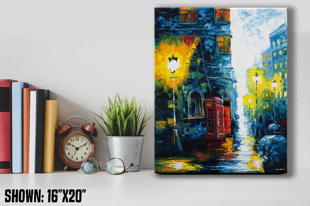 Urban wall art of cozy UK street with red telephone booth against blue buildings in modern home office