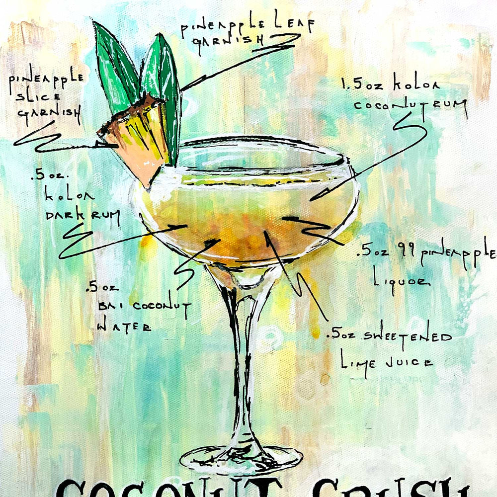 Urban wall art of illustrated tropical daiquiri recipe on cream and green abstract background