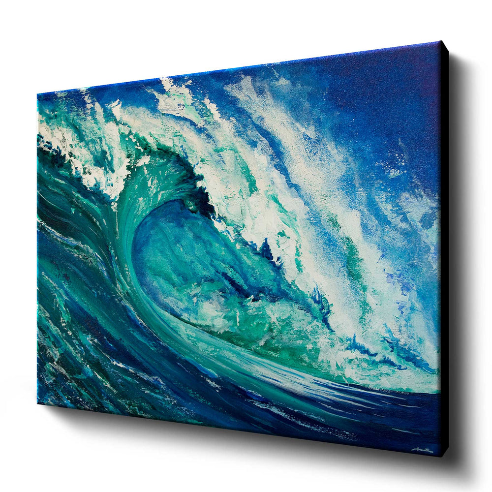 Large canvas art print of blue and green crashing wave against a deep blue sky