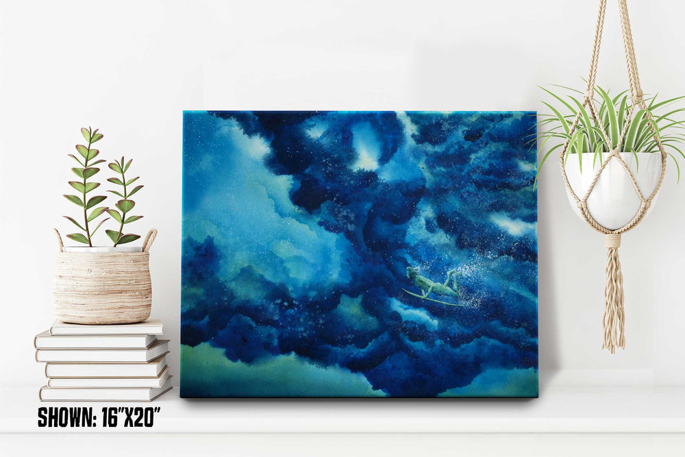 Beach house décor of California coast surfer riding beneath a rolling blue wave on his board