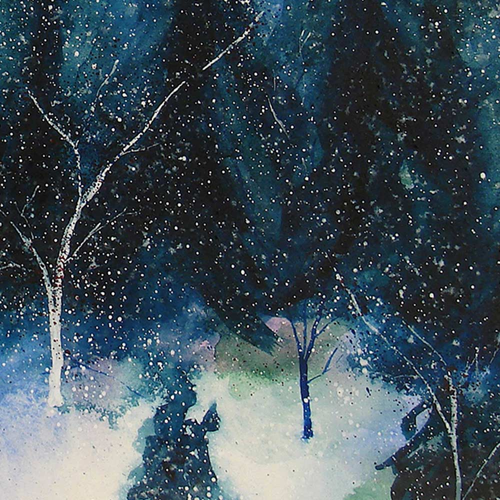 Watercolor painting of the aurora borealis glowing above a dark winter forest, printed on canvas as large winter wall art.