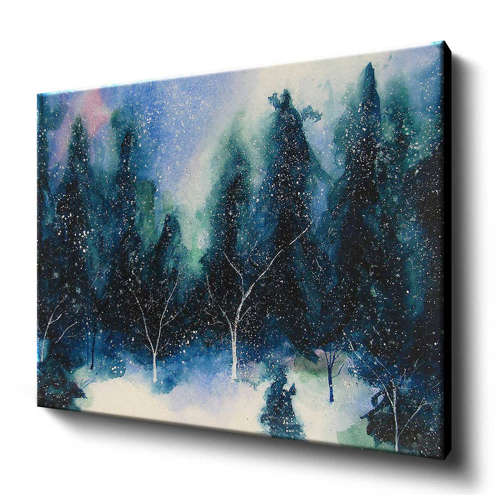 Winter forest wall art canvas with zen watercolor painting of snowy trees in a beautiful winter clearing.