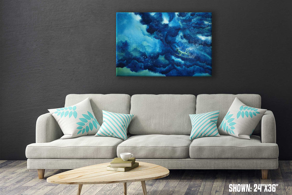 Large wall art of deep blue wave with relaxed surfer gliding beneath the swell