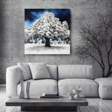Original oil on canvas painting of white winter tree in gray and white room. Shown as winter decor.