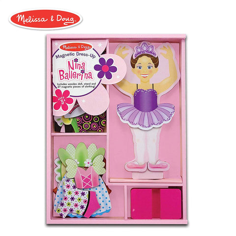MD-13554 NINA BALLERINA MAGNETIC WOODEN DRESS UP DOLL