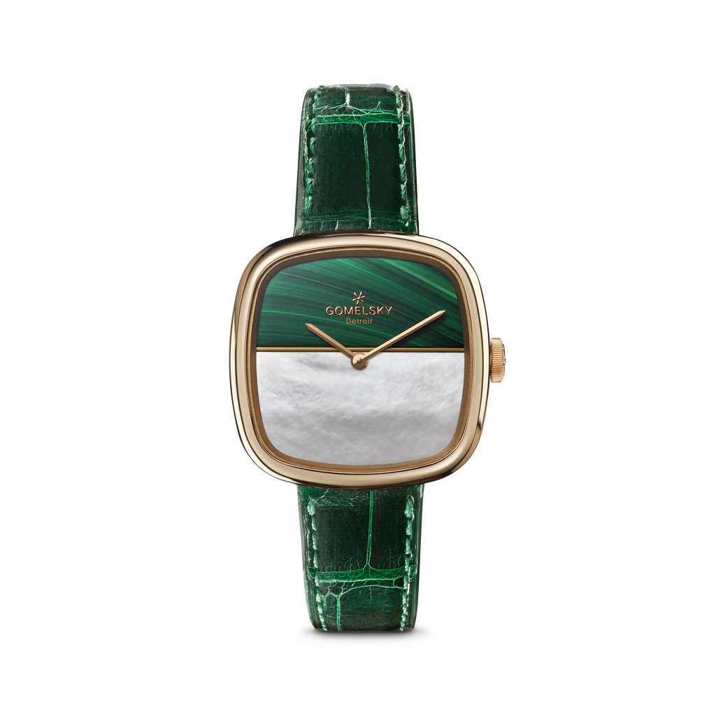 EPPIE MINI WATCH - MALACHITE + MOTHER OF PEARL