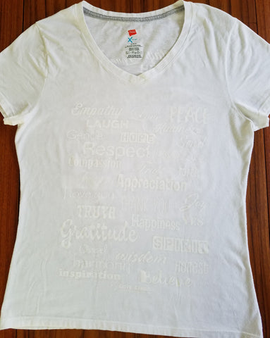 Love Lingo White On White Ladies V-Neck Tee Kundalini Yoga - Love Lingo