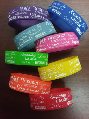 Chakra Colors wristband bracelets-Rubber-Set of 9 - Love Lingo