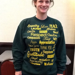 Love Lingo Green and Gold Unisex Crew neck Sweat Shirt - Love Lingo