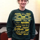 Green and Gold Love Lingo  Crew neck Sweat Shirt - Love Lingo