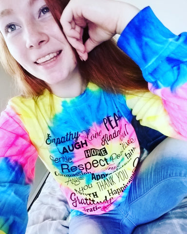 Love Lingo Long Sleeve Neon Rainbow Tie Die T-shirt - Love Lingo