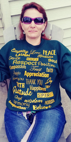 Green and Gold Love Lingo Unisex Crew neck Sweat Shirt ( Packer Colors) - Love Lingo