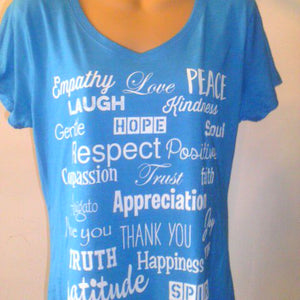 Neon Blue Heather Ladies V-neck T-Shirt - Love Lingo