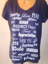 Love Lingo Navy Blue Ladies V-Neck Tee Shirt - Love Lingo