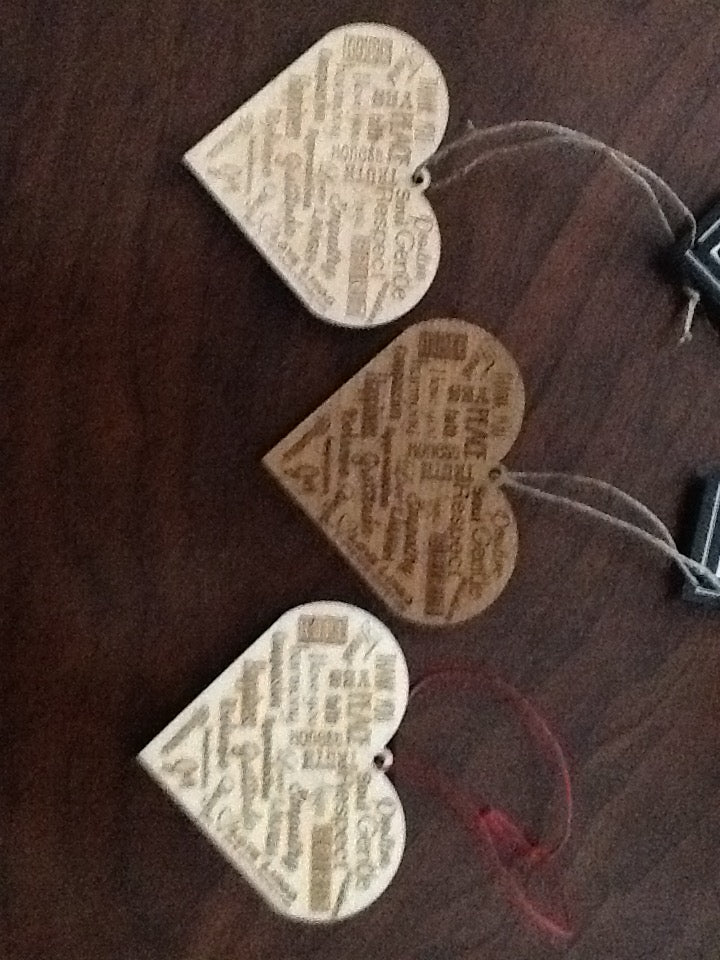 Love Lingo Unique Eco-friendly  Wood Heart Ornaments - Love Lingo