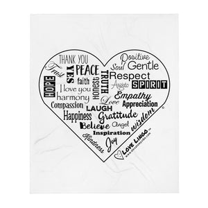 Love Lingo Positive Heart Throw Blanket (Vertical)