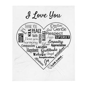 I Love You Heart Throw Blanket (vertical)