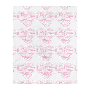 Love Lingo Positive Hearts Throw Blanket ( Pink)