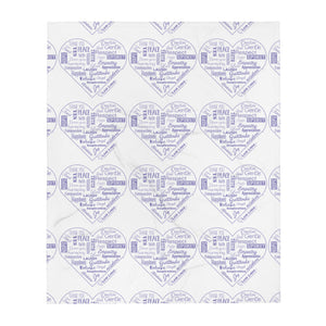 Love Lingo Positive Hearts Throw Blanket (Purple)