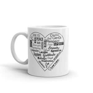 Love Lingo Positive Heart Mug 11 oz and 15 oz (Black Heart)