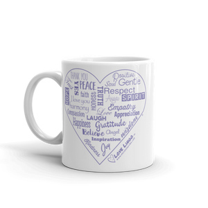 Love Lingo Positive Heart Mug 11 oz and 15 oz (Purple Heart)