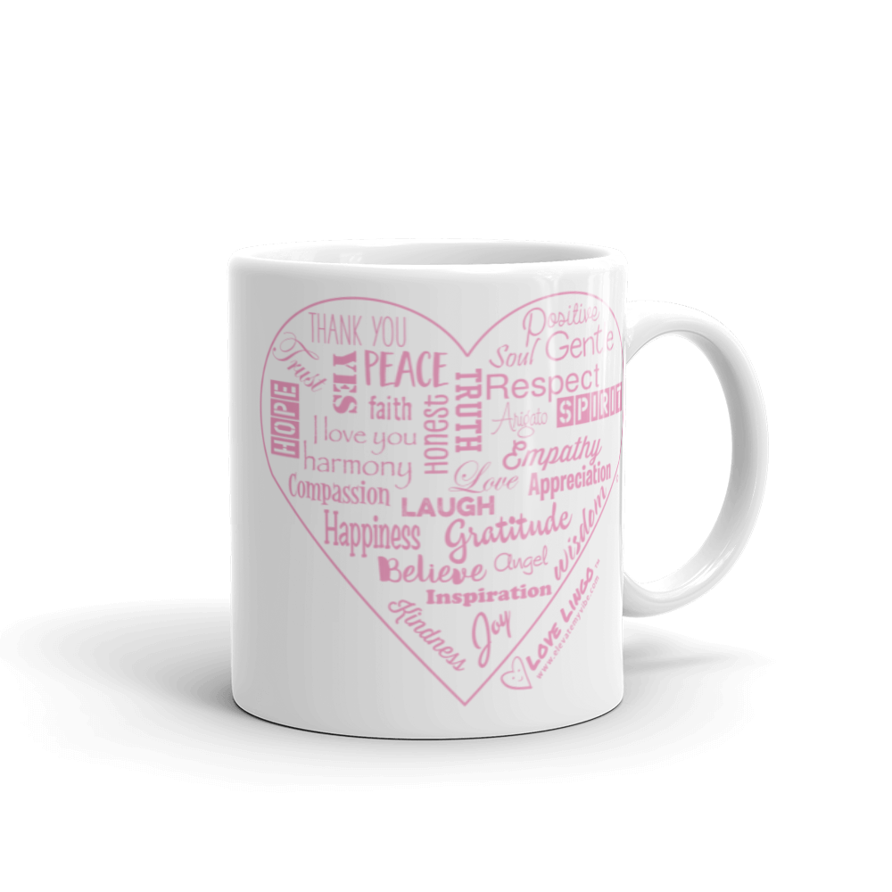 Love Lingo Positive Heart Mug 11 oz and 15 oz (Pink Heart)
