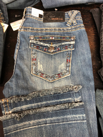 Grace Jeans Red & Blue Pocket Accents