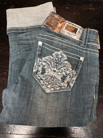 Denim Capri W/Bling Pockets