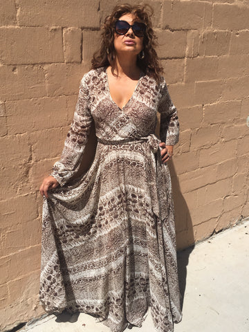 Snakeskin Print Flowing Maxi Dress