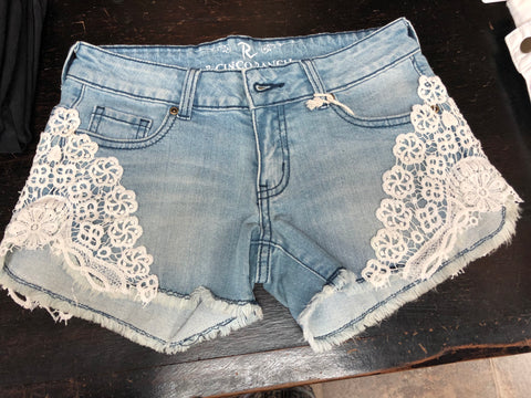 Light Blue Denim Shorts W/White Lace Trim