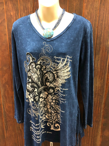 Stonewashed Blue Long Sleeve Vneck Top