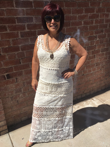 Emma Crochet Lace Dress Off White