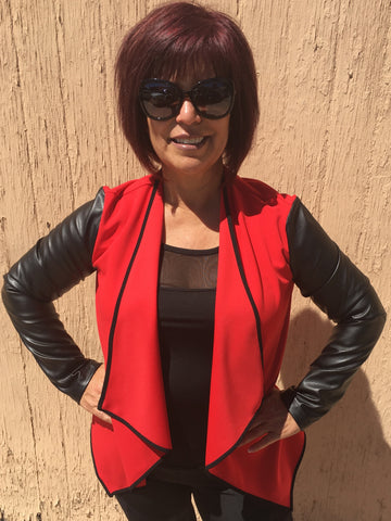 Joseph Ribkoff Red Jacket W/Black Leather Sleeves